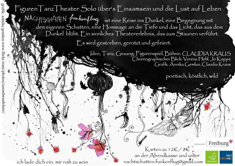 Flyer des TanzTheaterSolo Nachtschatten.funkenflug von Claudia Kraus. ©annikagemlau2015