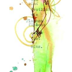 "AM RANDE DES HAINS postcard 21 x 7,3 cm, with a poem by Rainer Maria Rilke --- ""Einmal, am Rande des Hains, stehen wir einsam beisammen, sind festlich wie Flammen und fühlen: Alles ist eins."" --- ""Once, at the edge of the woods, we stand together alone and are festive, like flames, feeling: All is One."" --- ""Une fois, au bord de la forêt, nous restons ensemble, seuls, solennels commes des flammes en sentant, tout est un."""