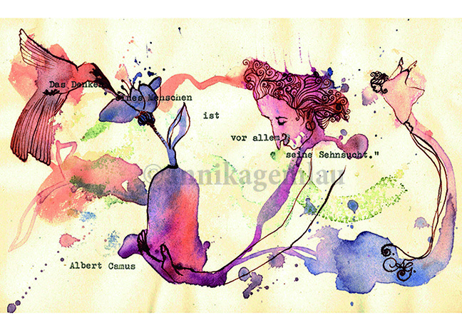 """SEHNSUCHT postcard 15 x 10,7 cm ©annikagemlau2015 --- """"saudades"""" / """"nostalgie"""" / """"añoranza"""", quotation by Albert Camus, Le mythe de Sisyphe (1942): (45),5 """"La pensée d'un homme est avant tout sa nostalgie"""" / """"the thinking of a human being is first of all his nostalgy"""""""