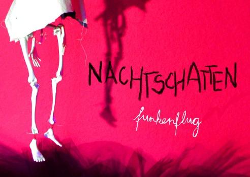 Flyer des TanzTheaterSolo Nachtschatten.funkenflug von Claudia Kraus. ©annikagemlau2015 Foto: Claudia Kraus