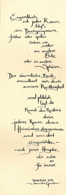 """Rasten in Durchgangsräumen"" - lyrics and calligraphy by ©annikagemlau"