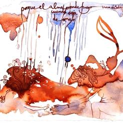 """lluviadefuego ©annikagemlau - """"porque el alma prende fuego cuando deja de amar"""", song by Lhasa de Sela - Neues wächst im Boden, während es oben stürmt und regnet"""