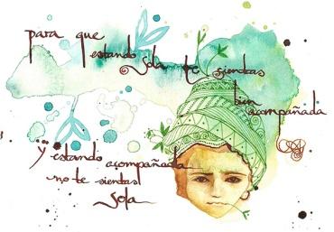 """PARA TI DinA5 ©annikagemlau2015 --- """"para que estando sola te sientas bien acompañada. Y estando acompañada, no te sientas sola"""" / """"For you that you feel well accompanied when you are alone. And that you do not feel lonely when you are accompanied"""""""
