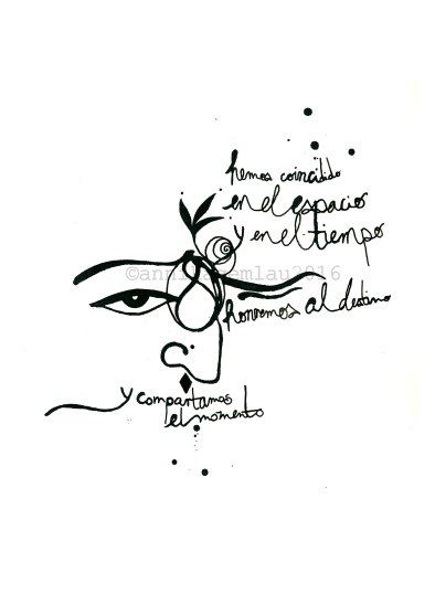 """HUIPILISMO NEGRO 2 DinA4 ©annikagemlau2016 --- lyrics by Lágrimas de Sangre: """"we've coincided in space and time, let's honour destiny and share the moment"""""""