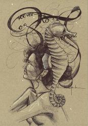 DUDAS DE CABALLITO DEL MAR DinA4 - Original : 120€ ©annikagemlau --- Doubts of a seahorse